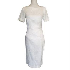 H&M Ivory Jaquard Weave Open Back Pencil Dress